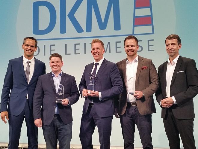 Preisverleihung des Jungmakler-Awards 2018. Von links: Konrad Schmidt, Rainer Schamberger, Dirk Brecht, Daniel Ivakovic und Juror Steffen Ritter (Bild: Meyer)