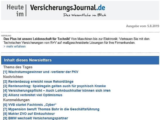 """Newsletter """"Heute im VersicherungsJournal.de"""" (Bild: VersicherungsJournal)"""