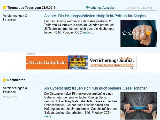 VersicherungsJournal Homepage 21.6.2019