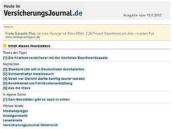 Newsletter Heute im VersicherungsJournal.de