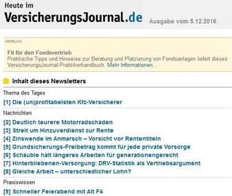 Zum Vergrößern Bild klicken (Bild: Screenshot VersicherungsJournal.de)