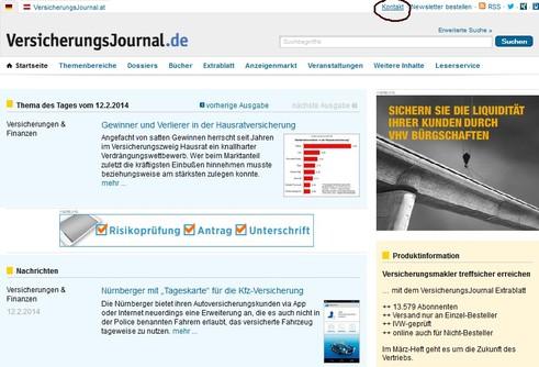 Kontakt zur VersicherungsJournal-Redaktion aufnehmen
