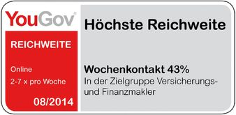 Bestnote für das VersicherungsJournal bei der Yougov Medienanalyse 2014 (Bild: Yougov Deutschland AG)